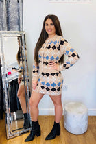 'Cher' Knitted Diamond Check Skirt & Cardigan Co-Ord Set