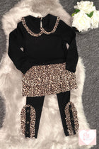 Girls 2pc Leopard Print Frill Top and Legging Set
