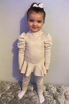 Girls Knitted Puff Sleeved Peplum Co-Ord Set
