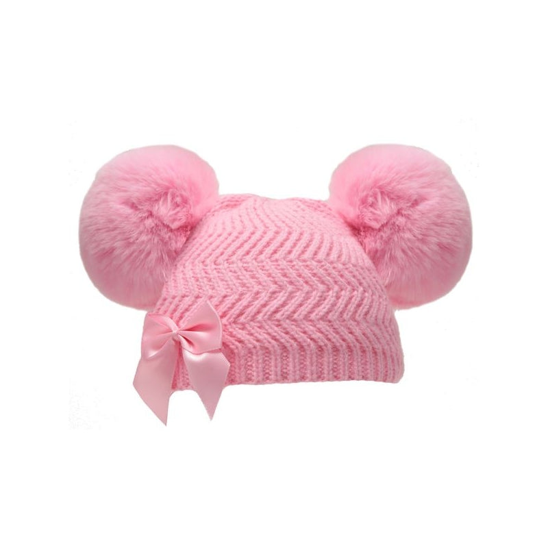 Pink Bobble Bow Beanie