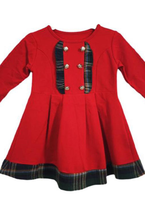 Girls Tartan Frill Trim Button Dress