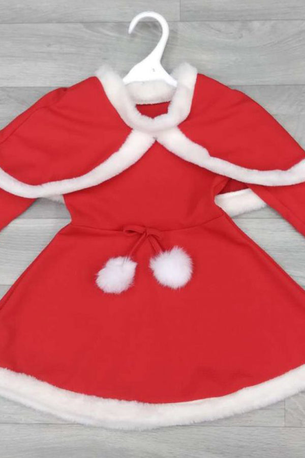 Girls Christmas Santa Dress with Cape
