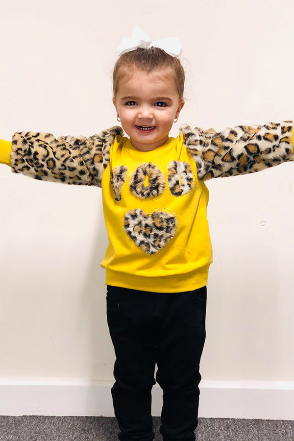 Girls Faux Fur Leopard Print Loungewear Set