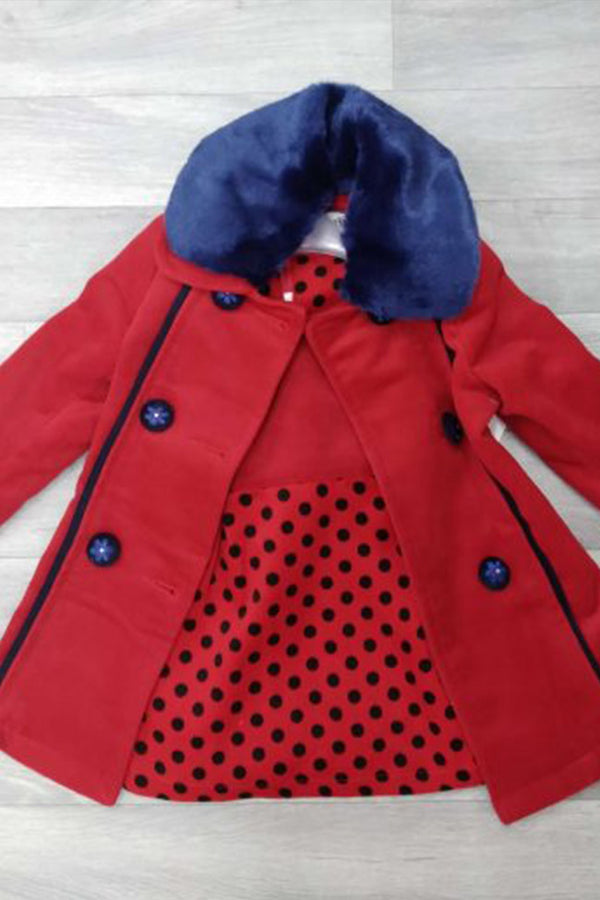 Girls Elegant 2pc Wooly Polka Dot Dress & Jacket Set