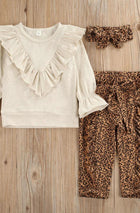 Girls 3pc Frill Top, Leopard Print Pants & Headband Set