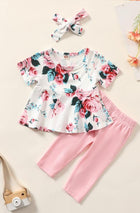 Baby Girl 3pc Floral Print Top, Leggings & Headband Set