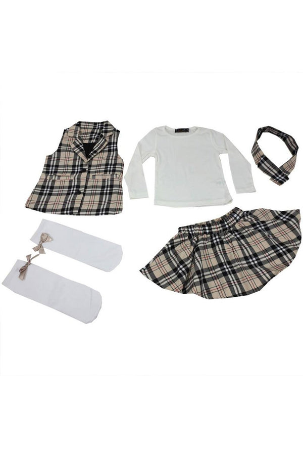 Baby Girls Beige Tartan 5pc Set