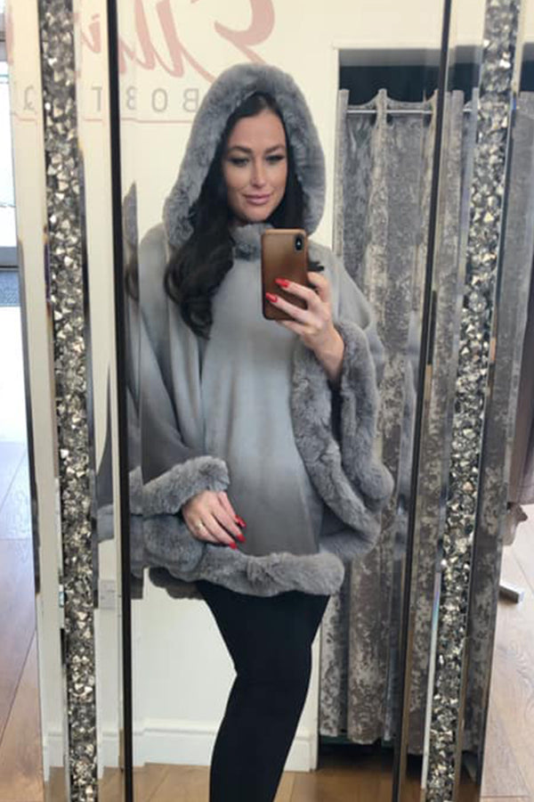 'Dulcie' Faux Fur Dip Dye Hooded Cape