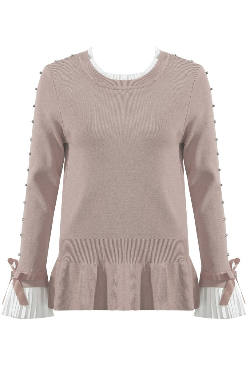 'Laetitia Mem' Diamante Embellished Sleeves & Frill Trim Hem Jumper