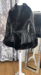 'Frankie' Faux Fur & Leather Belted Coat
