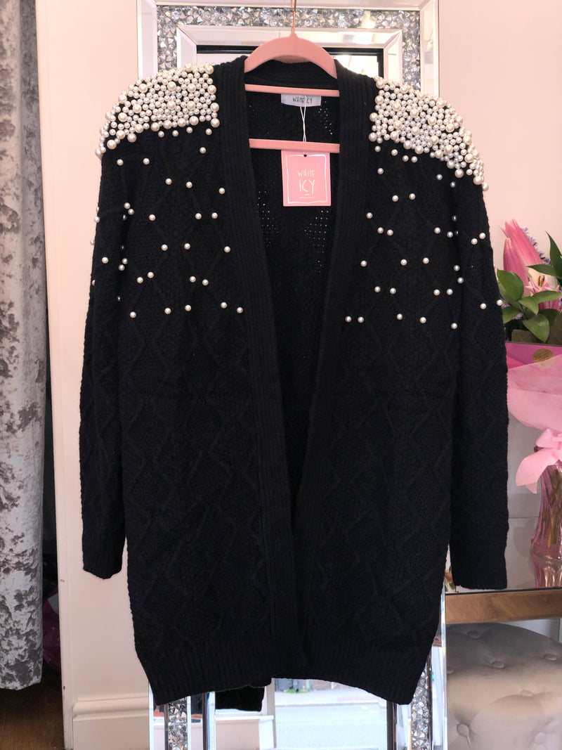 'Aurelia' Pearl Embellished Cable Knit Cardigan