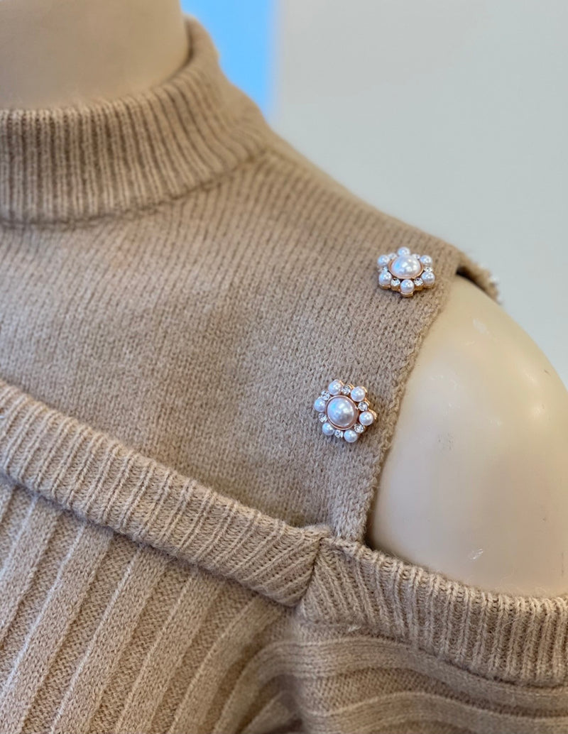 'Harper' Pearl Detail Cold Shoulder Jumper