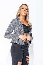 'Courtney' Tweed Pearl Button Frayed Edge Blazer