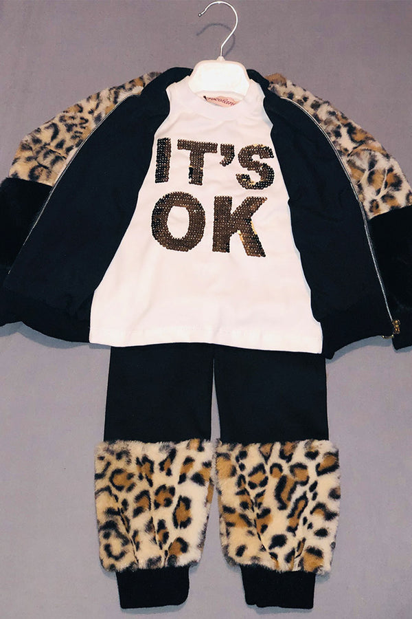 Girls 3pc Faux Fur Leopard Print Tracksuit Set