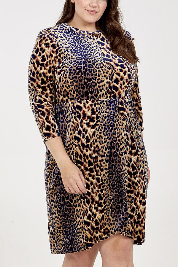 'Charlotte' Leopard Print Wrap Hem Pleated Dress
