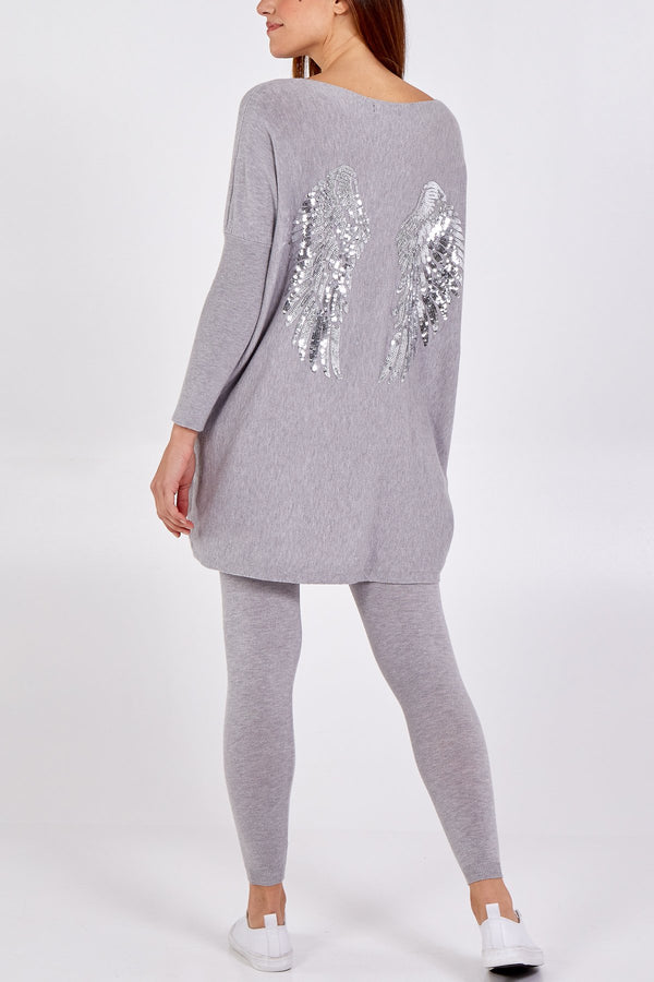 'Joy' Sequin Angel Wings Loungewear Set