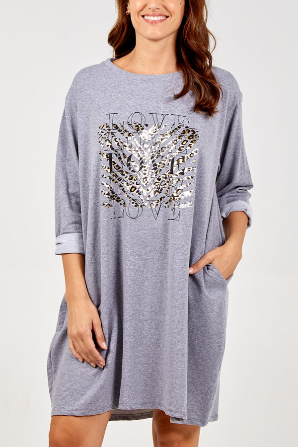 'LOVE' Tiger Print Jumper Dress