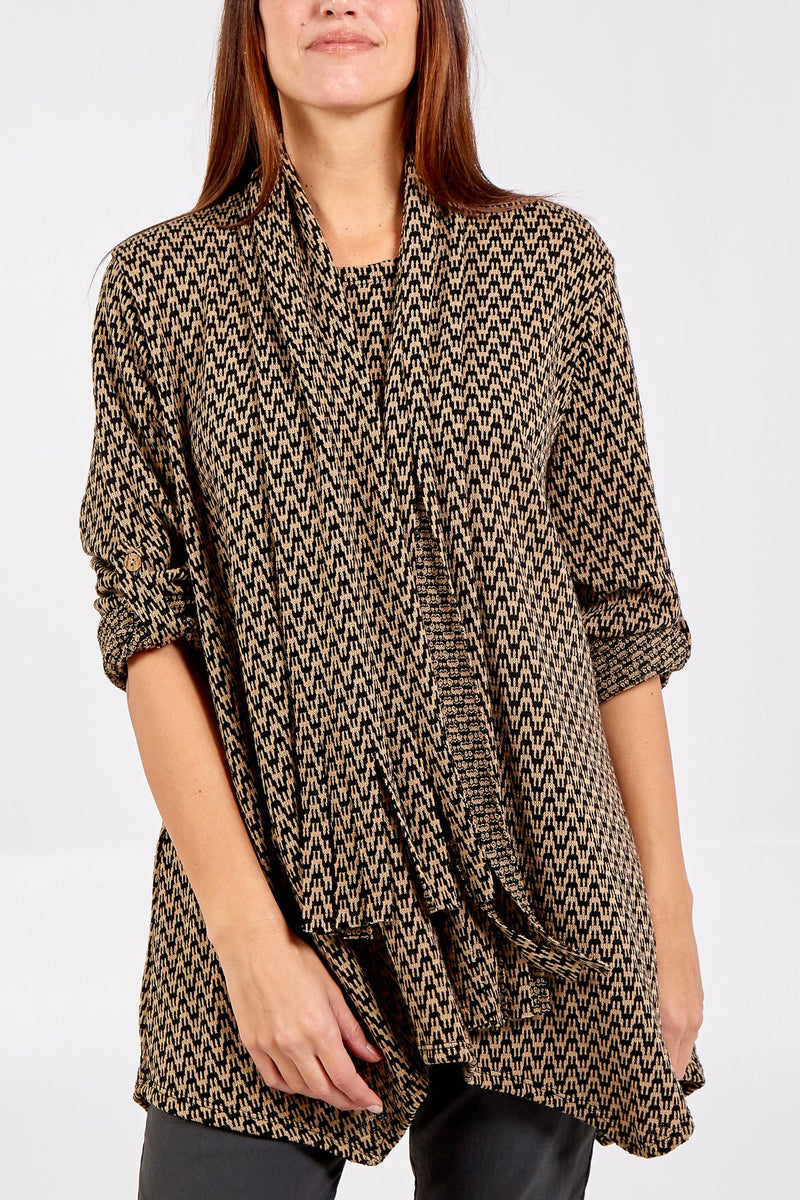'Victoria' Zig-Zag Patterned Top With Scarf