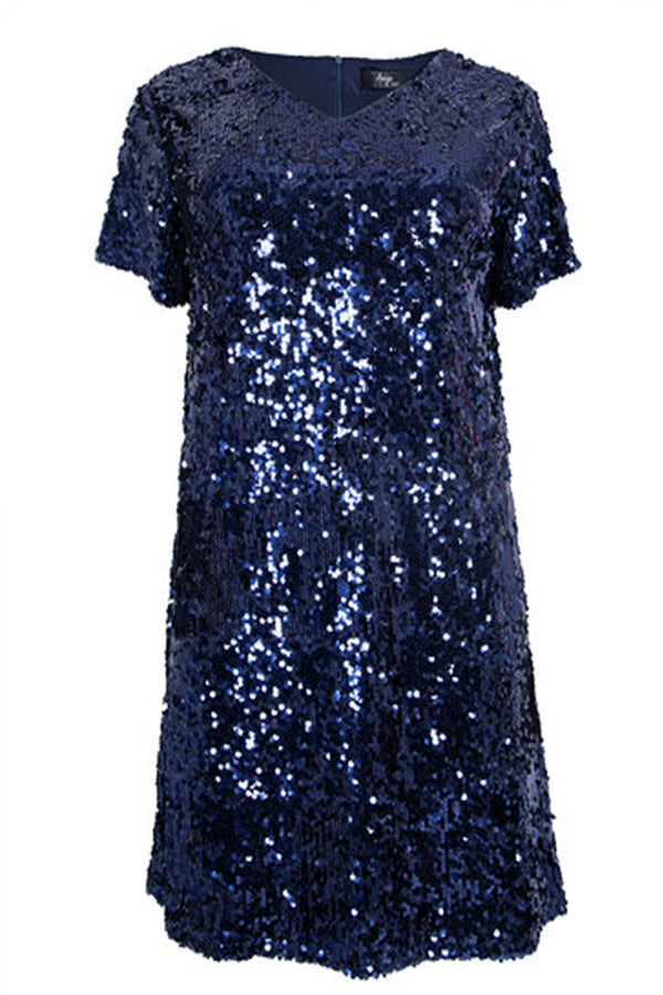 'Gabriella' Curve Navy Sequin Embellished V-Neck Skater Dress