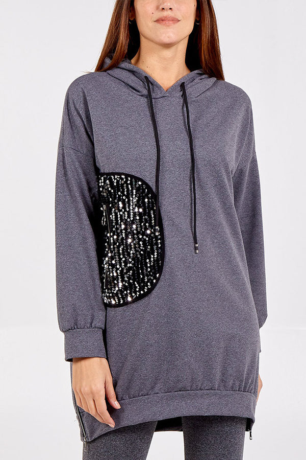 'Heidi' Sequin Patch Deep Zip Detailed Hooded Sweatshirt
