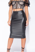 'Zola' Black PU Coated High Waisted Midi Skirt