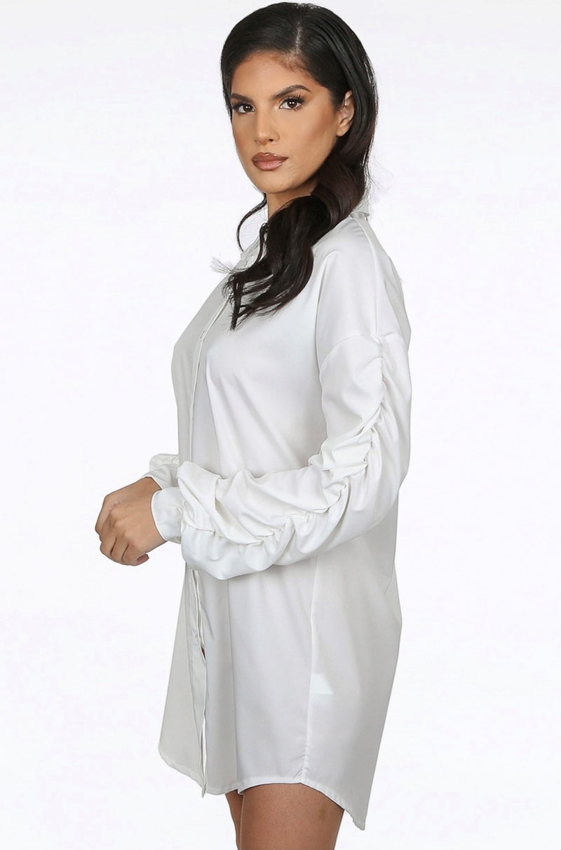'Lotty' White Ruched Sleeve Shirt Dress