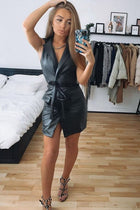 'Amelia' Wet Look Wrap Front Belted Mini Dress