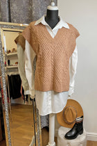 'Hatty' Taupe Cable Knit Side Split Tabard Jumper