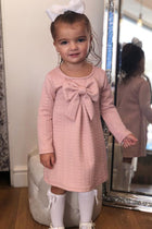 Baby Pink Soft Quilted Bow Dress