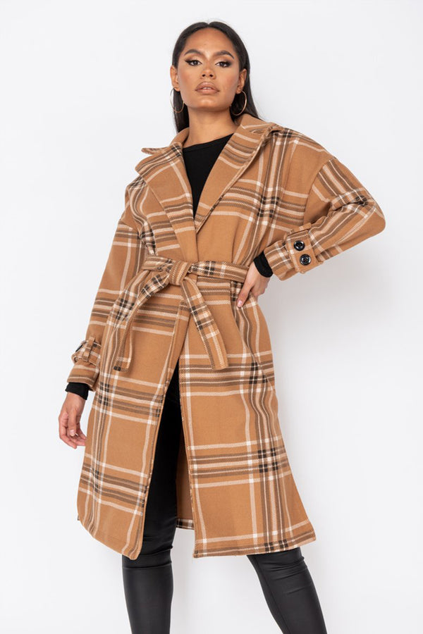 'Evelyn' Camel Check Collared Belted Trench Coat