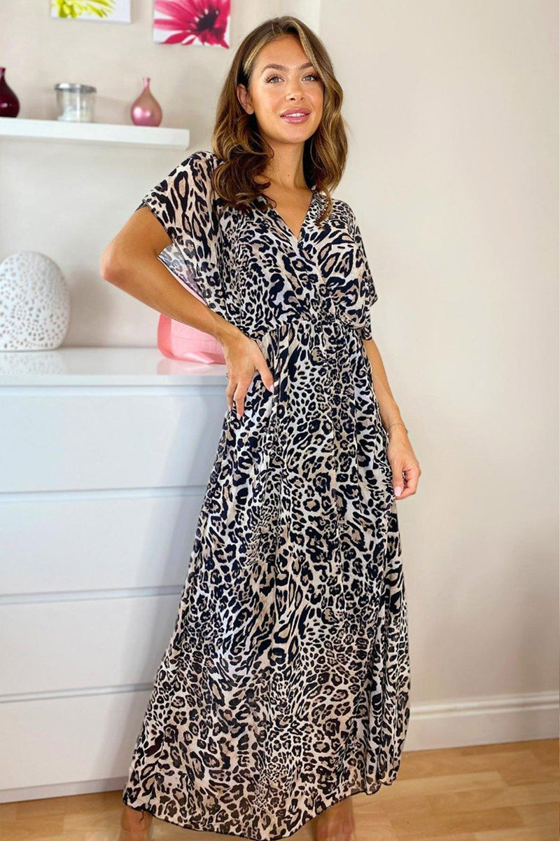 'Steph' Leopard Print Chiffon Maxi Dress