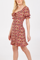 'Carrie' Gathered Front Puff Sleeve Dress
