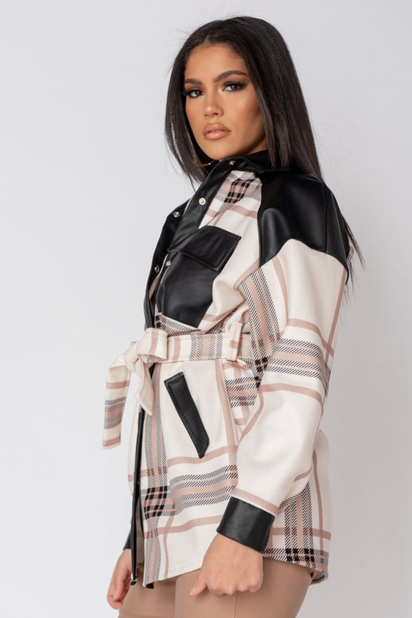 'Brook' Cream Check Faux Leather Belted Shacket