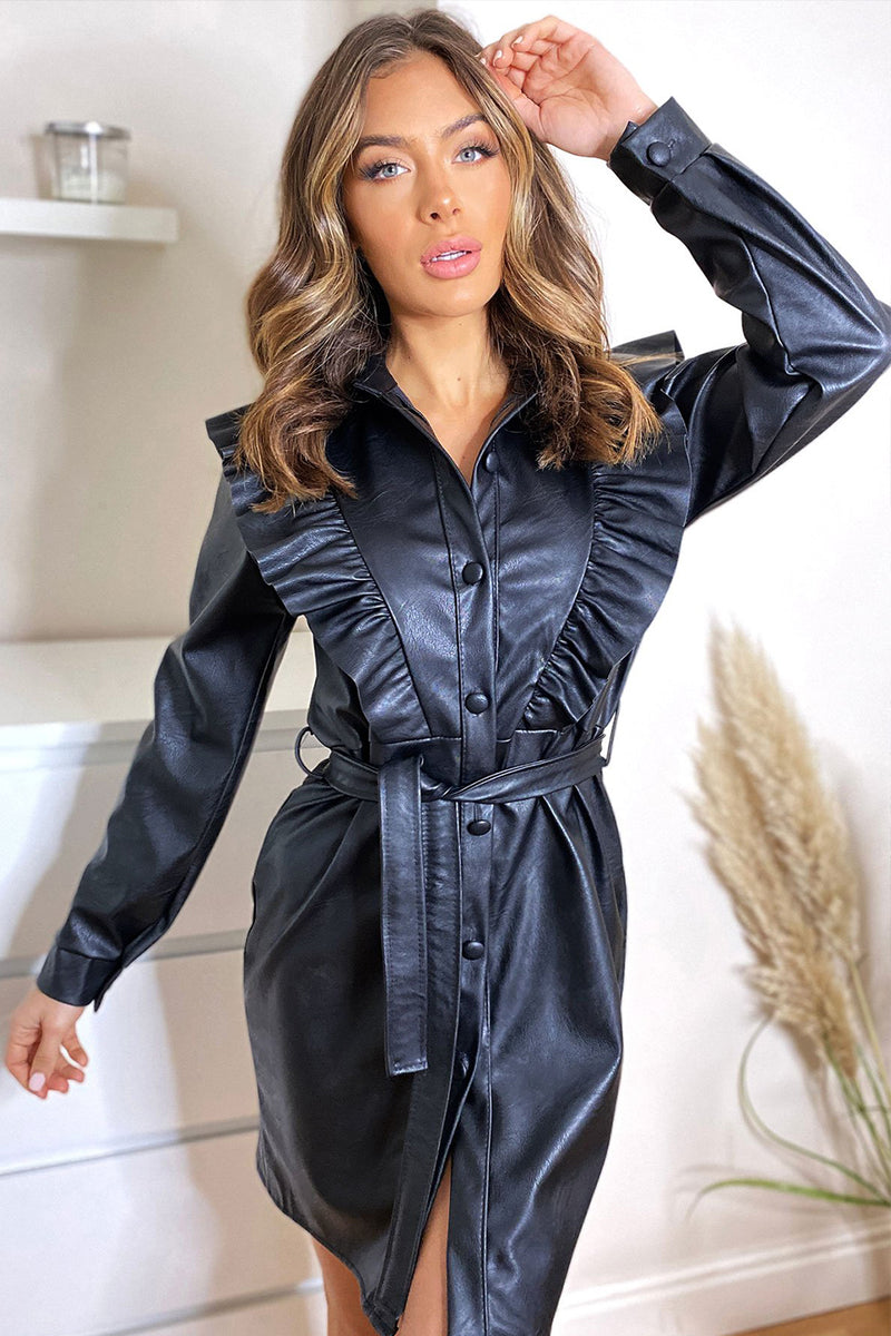 'Remy' Leather Look Ruched Frill Tie Waist Shirt Dress