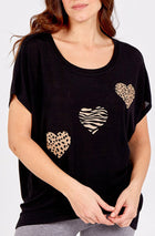 'Nicole' Glitter Animal Print Hearts Top