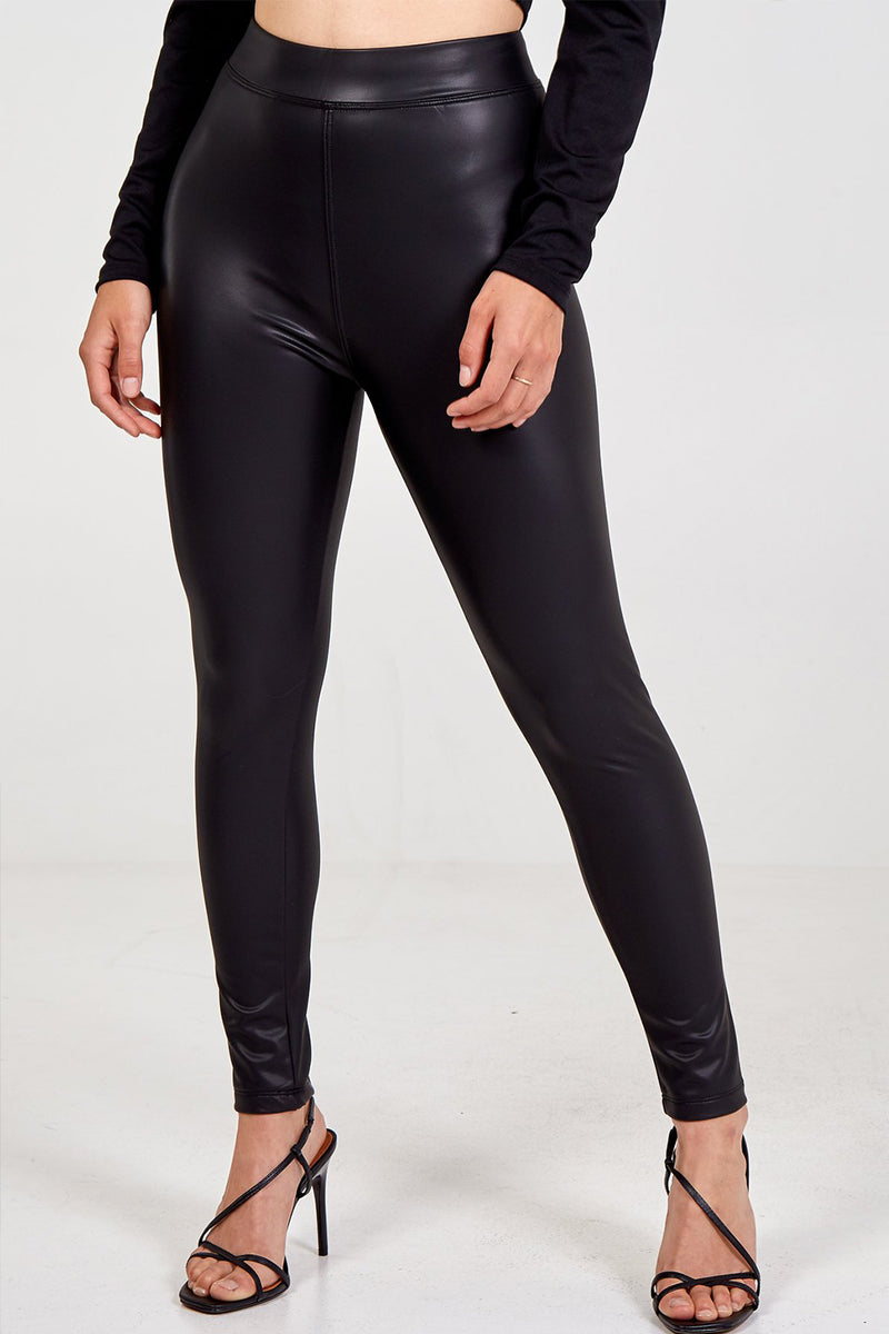'Aziah' PU Leather Look High Waisted Leggings