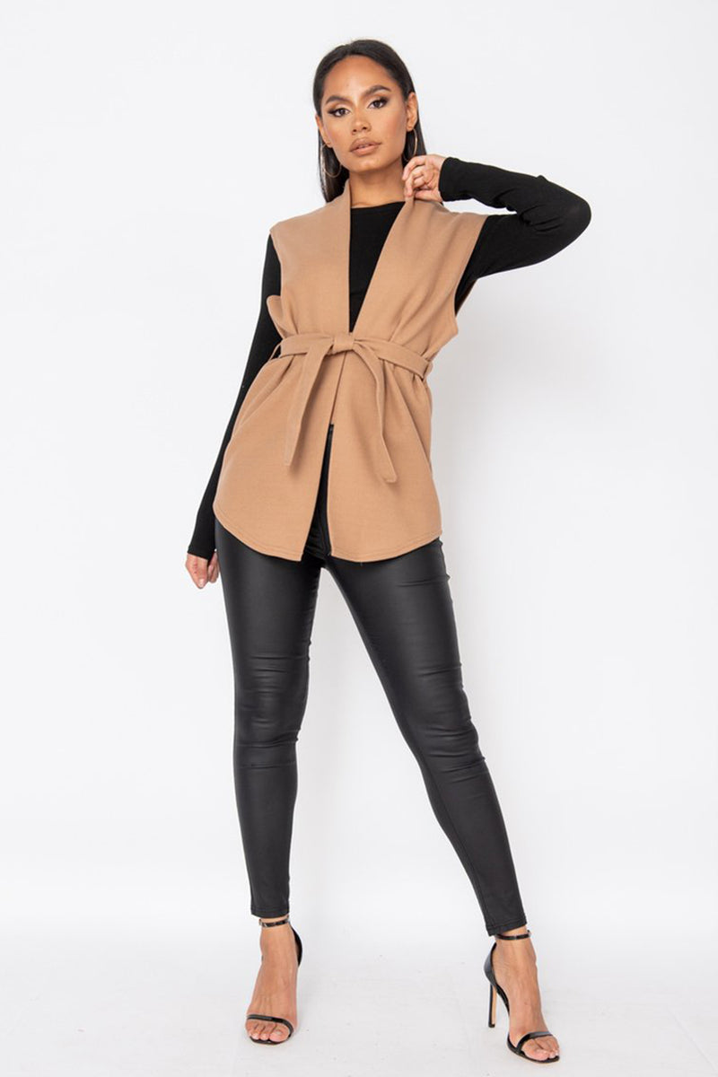 'Gracie' Camel Wool Effect Sleeveless Belted Blazer