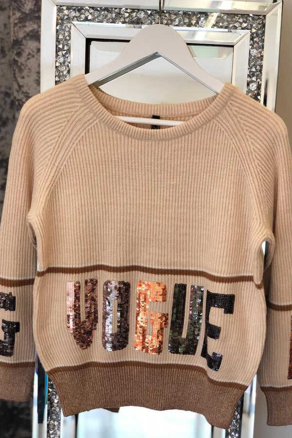 'VOGUE' Sequined Slogan Jumper