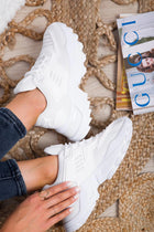 'Brooklyn' White PU Lace Up Chunky Trainers