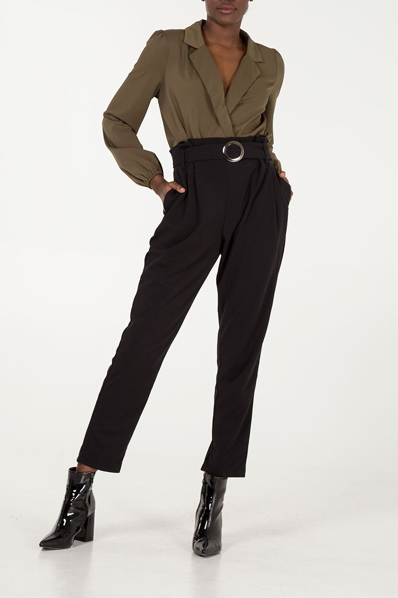 'Abigail' Black Satin Look Paper Bag Belted Trousers