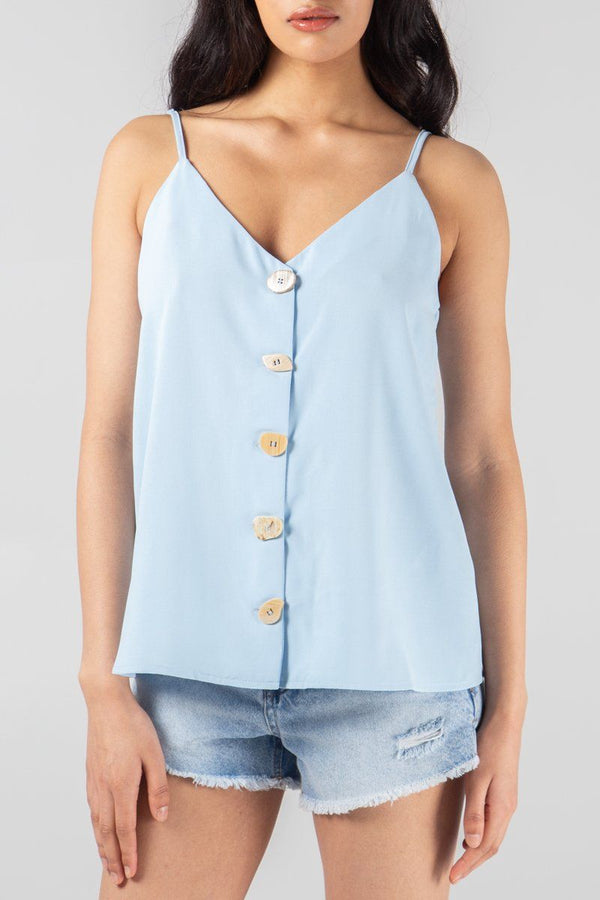 'Alice' Baby Blue Button Front Cami Top