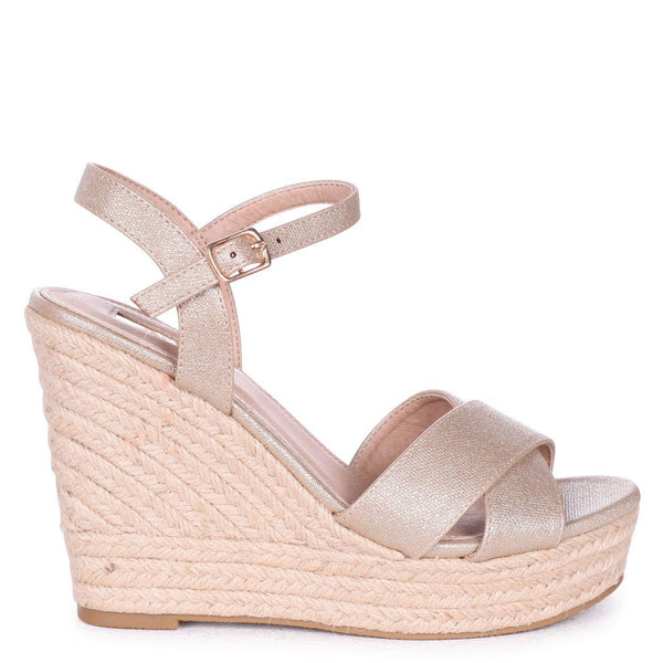 'Becki' Gold Cross Over Strap Rope Wedges