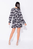 'Beth' Floral Frill Trim Tiered Long Sleeve Dress