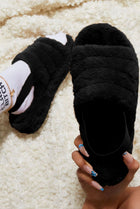 Black Faux Fur Fluffy Slipper Sliders