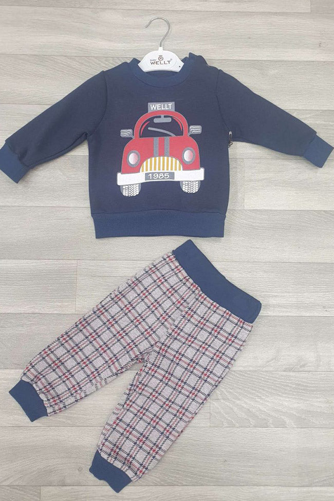 Baby Boys 2pc Check Bottoms Car Set