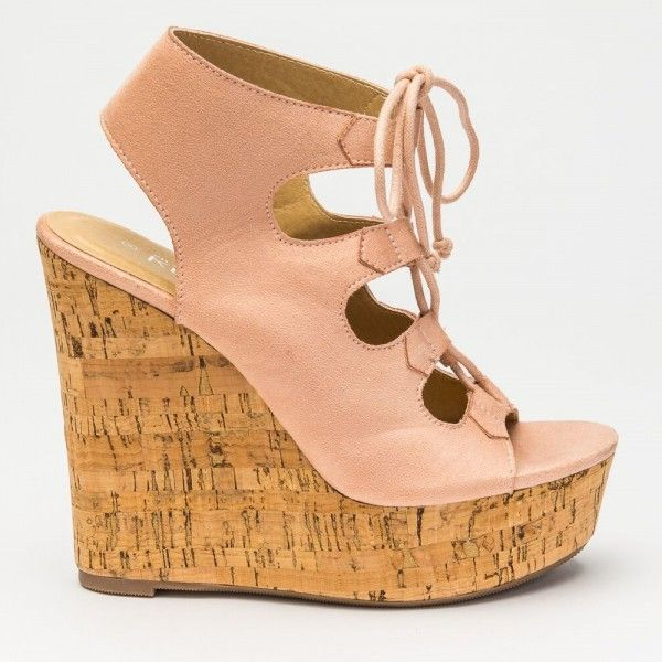 'Brianne' Blush Faux Suede Cork Wedges
