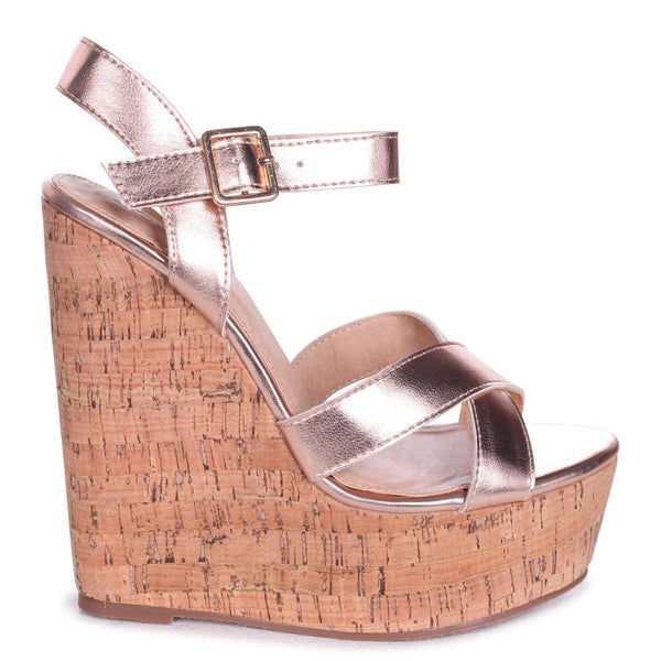 'Brogan' Rose Gold Cross Over Strap Cork Wedges