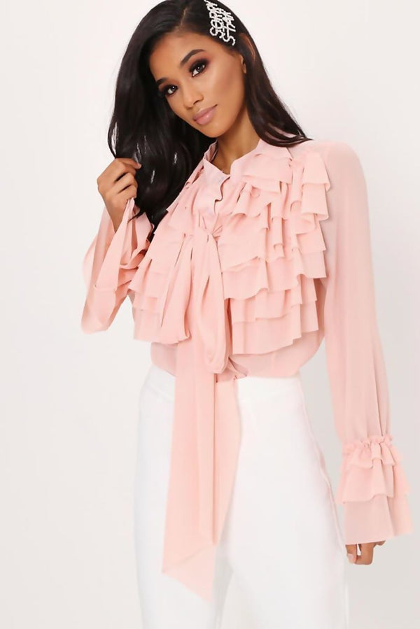 'Casey' Dusty Pink Ruffle Bow Blouse