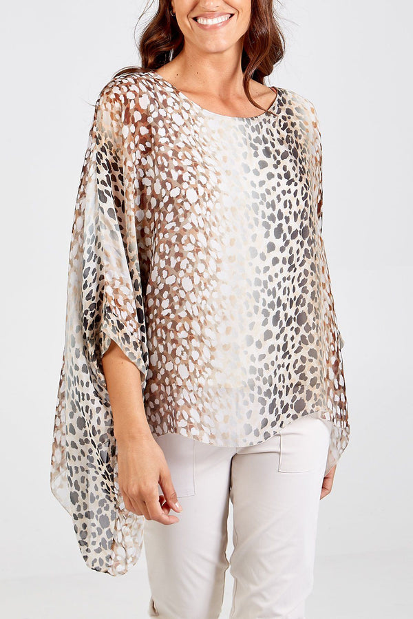 'Caterina' Lined Silk Natural Beige Leopard Print Top