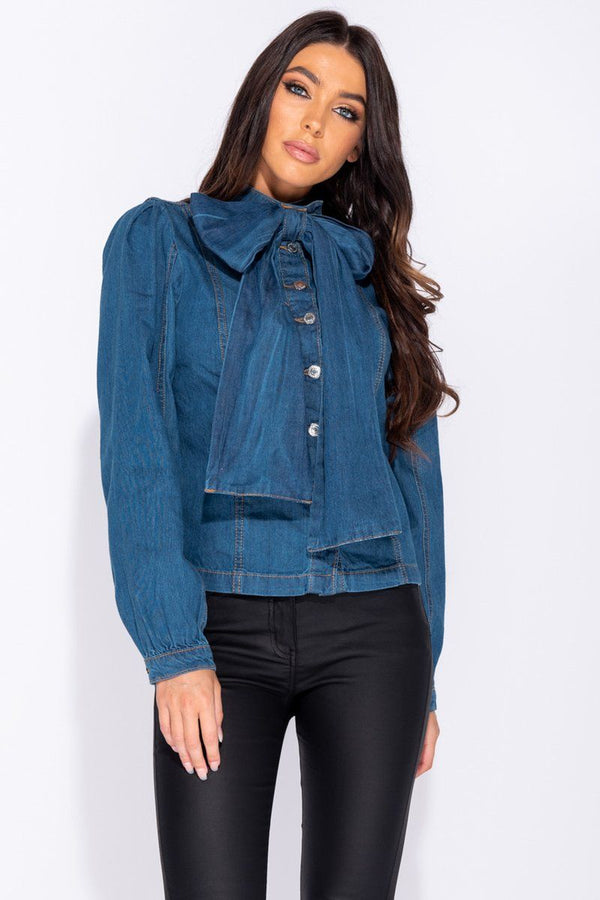 'Cherelle' Button Front Pussy Bow Denim Blouse